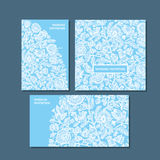 Blue color decorative greeting cards set. Royalty Free Stock Image