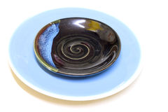 Blue color dish Royalty Free Stock Images