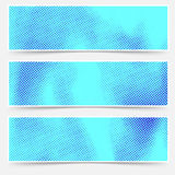 Blue color distressed dotted overlay card collection templates. Royalty Free Stock Image