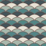 Blue color fish scale wallpaper. Asian traditional ornament with repeated scallops. Seamless pattern with semicircles. Blue color fish scale wallpaper. Asian Royalty Free Stock Images