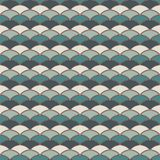 Blue color fish scale wallpaper. Asian traditional ornament with repeated scallops. Seamless pattern with semicircles. Blue color fish scale wallpaper. Asian Stock Photography