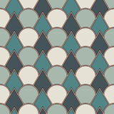 Blue color fish scale wallpaper. Asian traditional ornament with repeated scallops. Seamless pattern with semicircles. Blue color fish scale wallpaper. Asian Royalty Free Stock Photo