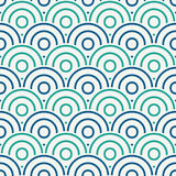 Blue color fish scale wallpaper. Asian traditional ornament with repeated scallops. Seamless pattern with semicircles Stock Photos