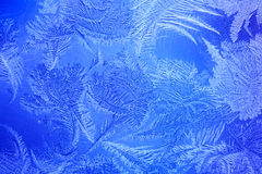 Blue color frost on the window Stock Photo