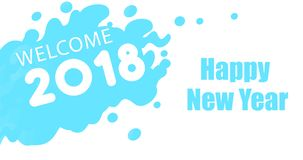 Blue color Happy new year 2018. Card Royalty Free Stock Images