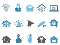 Blue color home security icons set. Isolated blue color home security icons set from white background Royalty Free Stock Photos