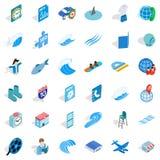 Blue color icons set, isometric style. Blue color icons set. Isometric style of 36 blue color vector icons for web isolated on white background Royalty Free Stock Image
