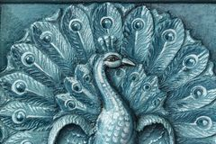 Blue color india temple peacock relief royalty free stock images