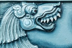 Blue color india temple relief art closeup view. Blue color india temple relief art royalty free stock photos