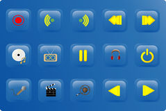 Blue color media buttons Stock Images