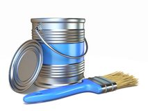 Blue color metal paint can and brush 3D. Rendering illustration isolated on white background Royalty Free Stock Photography