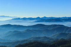 Blue color of mountains during sunset ,Chiang Mai , Thailand Royalty Free Stock Image