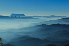 Blue color of mountains during sunset ,Chiang Mai , Thailand. Stock Images