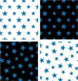 Blue Color Nautical Star Big & Small Aligned & Random Seamless Pattern Set Royalty Free Stock Photo