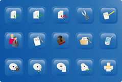Blue color office button set Stock Photography