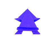 Blue color origami frog Royalty Free Stock Photography