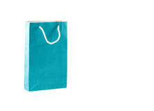 Blue color paper bag isolated on white background Royalty Free Stock Photo