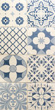 Blue color pattern on white mosaic tiles. For interior Stock Image