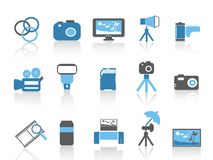 Blue color photography element icons set Stock Photo
