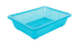 Blue color plastic basket on white background Royalty Free Stock Image