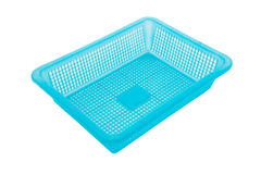Blue color plastic basket on white background Stock Photography