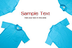 Blue color Polo shirts. For your add for massage in there Royalty Free Stock Images