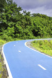 Blue color road for bicycle stock images
