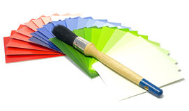 Blue color samples of painting. With paintbrush royalty free stock photo