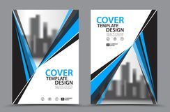 Blue Color Scheme with City Background Business Book Cover Design Template in A4 Royalty Free Stock Image