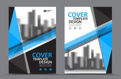 Blue Color Scheme with City Background Business Book Cover Design Template in A4 Royalty Free Stock Images