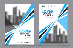Blue Color Scheme with City Background Business Book Cover Design Template in A4 Stock Images