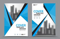 Blue Color Scheme with City Background Business Book Cover Design Template in A4 Royalty Free Stock Photo