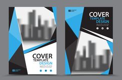 Blue Color Scheme with City Background Business Book Cover Design Template in A4 Stock Photography