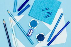 Blue color school supplies Stock Photo