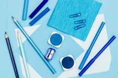 Blue color school supplies Stock Photo