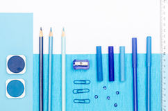 Blue color school supplies Stock Image