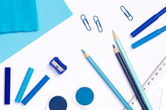 Blue color school supplies Royalty Free Stock Photography