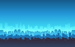 Blue color silhouette of city skyline, Cityscape with light from window background in flat icon design Royalty Free Stock Images