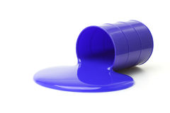 Blue color slime. Spilled from container on white background stock images