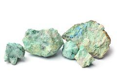 Blue color stone. On white background royalty free stock photography