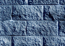 Blue color stylized brick wall pattern. Royalty Free Stock Images