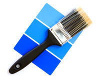 Blue color swatch. With paintbrush stock photo