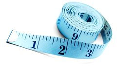Blue Color Tape Measure. Isolated over white stock image