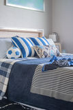 Blue color tone of kid's bedroom Royalty Free Stock Images