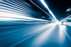 Blue color tunnel car driving motion blur Stock Photography
