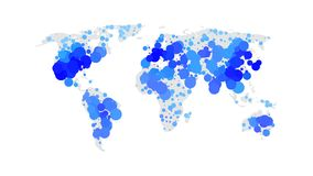 Blue color world map isolated on white. Background with circles. Abstract flat template for web design, brochure, flyer, annual report, banner, infographic Stock Images