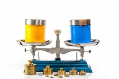 Blue color and yellow color of plastisol ink on Weight Scale. Stainless steel weight scales in blue color with weighing plates for weighing. There are many brass royalty free stock image