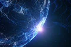 Blue colored abstract network globe with flare of light. Futuristic blue colored abstract network globe with flare of light, view from space. Copy space stock images