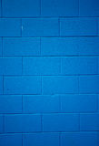 Blue colored brick background. Stock Photos