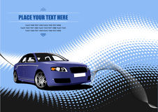 Blue colored car sedan Royalty Free Stock Photography